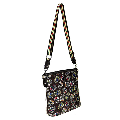 MW925-8360 Montana West Sugar Skull Canvas Crossbody