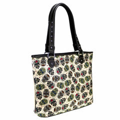 MW926-8112 Montana West Sugar Skull Canvas Tote Bag