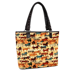 MW927-8112 Montana West Horse Collection Canvas Tote Bag
