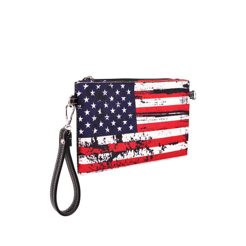 MW933-181 Montana West American Flag Canvas Clutch/Crossbody
