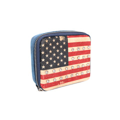 MW933-193 Montana West Western Design Pill Box Travel Organizer/ Zippered Case American Flag Print
