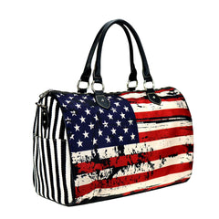MW933-5110 Montana West American Flag Canvas Weekender Bag