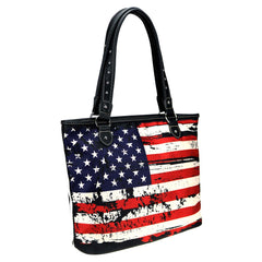 MW933-8112 Montana West American Flag Canvas Tote Bag