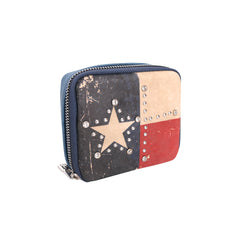 MW934-193 Montana West Western Design  Pill Box Travel Organizer/ Zippered Case Texas Flag print