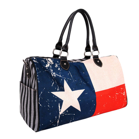 MW934-5110 Montana West Texas Flag Canvas Weekender Bag