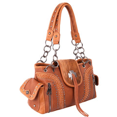 MW955G-8085 Montana West Hair-On Cowhide Collection Concealed Carry Satchel