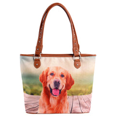 MW964-8112 Montana West Pet Printed Dog Collection Canvas Tote Bag
