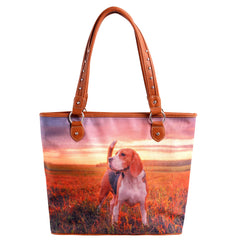 MW971-8112 Montana West  Pet Printed Dogs Collection Canvas Tote Bag