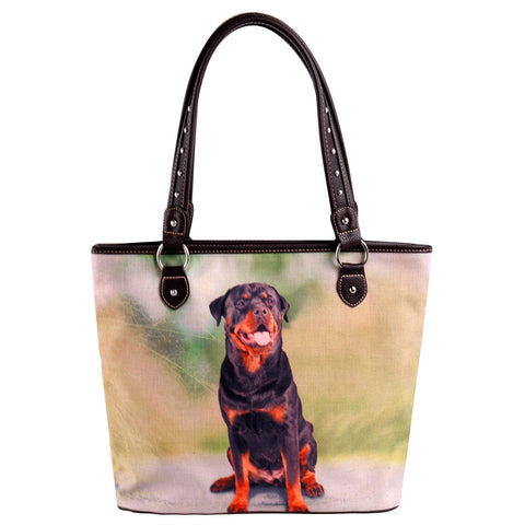 MW973-8112 Montana West  Pet Printed Dogs Collection Canvas Tote Bag