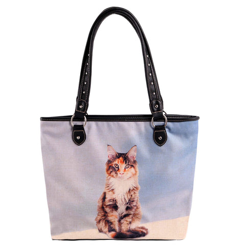 MW980-8112 Montana West Cats Collection Canvas Tote Bag