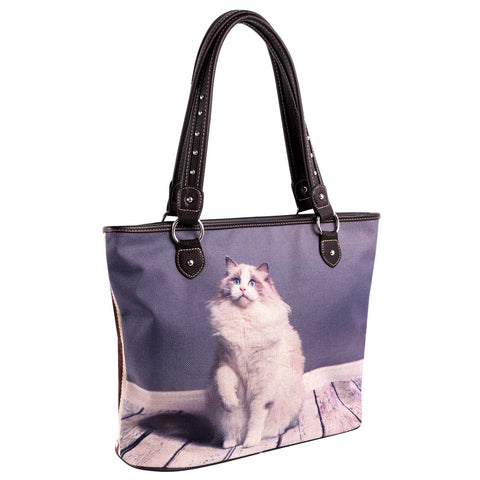 MW983-8112 Montana West Cats Collection Canvas Tote Bag