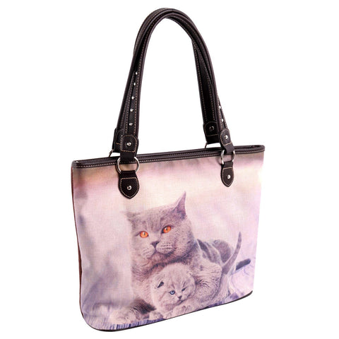MW984-8112 Montana West Cats Collection Canvas Tote Bag
