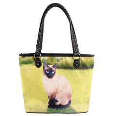 MW985-8112 Montana West Cats Collection Canvas Tote Bag