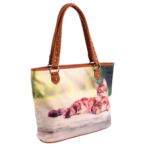 MW989-8112 Montana West Cat Collection Canvas Tote Bag