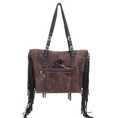 MWL-021  Montana West Real Leather Fringe Collection Safety Travel Tote