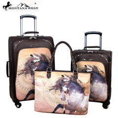 MWL07-L1/2/6 Montana West Horse Art 3 PC Luggage Set -Laurie Prindle Collection
