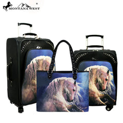 MWL09-L01/2/6 Montana West Horse Art 3 PC Luggage Set -Laurie Prindle Collection