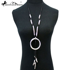 N07454 Big Metal Circle & Tassel with Black Cord Necklace