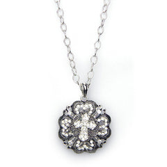 NEY101128-03  Crystal Pendant Short Chain Necklace/Cross Center Earring Set