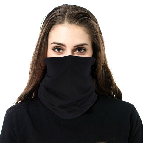 NFC-9001 Solid Black Neck Gaiter Face Mask Reusable, Washable Bandana /Head Wrap Scarf-1pcs/Pack