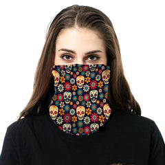 NFC-9007  Sugar Skull & Flower Print Neck Gaiter Face Mask Reusable, Washable Bandana /Head Wrap Scarf-1Pcs/Pack