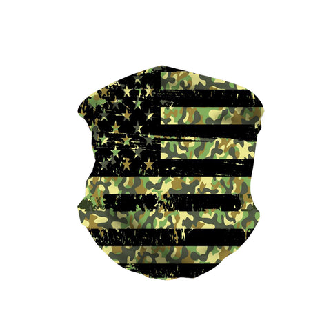 NFC-9009 Camo Flag Design Print Neck Gaiter Face Mask Reusable, Washable Bandana /Head Wrap Scarf-1Pcs/Pack