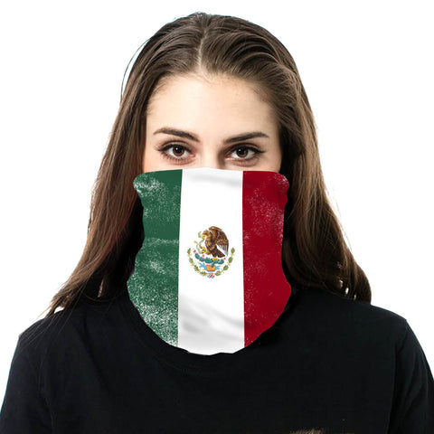 NFC-9010 Mexico Flag Print Neck Gaiter Face Mask Reusable, Washable Bandana /Head Wrap Scarf-1Pcs/Pack