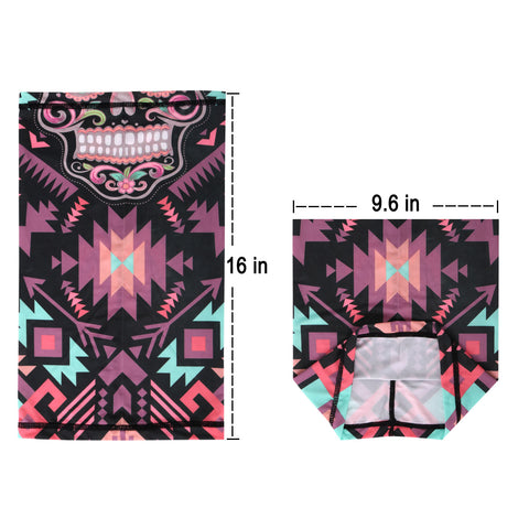 NFC-9011 Black Aztec Sugar Skull Floral Print Neck Gaiter Face Mask Reusable, Washable Bandana /Head Wrap Scarf-1Pcs/Pack