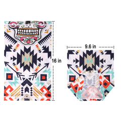 NFC-9012  White Aztec Sugar Skull Print Neck Gaiter Face Mask Reusable, Washable Bandana /Head Wrap Scarf-1Pcs/Pack