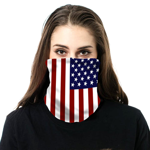 NFC-9014  American Flag Print Neck Gaiter Face Mask Reusable, Washable Bandana /Head Wrap Scarf-1Pcs/Pack