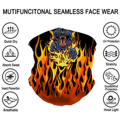 NFC-9016  Flaming Black Tiger Print Neck Gaiter Face Mask Reusable, Washable Bandana /Head Wrap Scarf-1Pcs/Pack