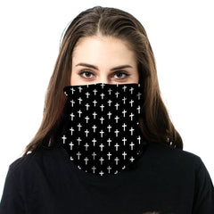NFC-9021  Black White Crosses Print Neck Gaiter Face Mask Reusable, Washable Bandana /Head Wrap Scarf-1Pcs/Pack