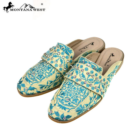 NFF-S004  Montana West Embroidered Collection Mule Slide