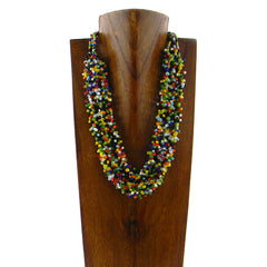 NKS170801-01MLT  3 STRINGS MULTI COLORS SEED BEADS NECKLACE
