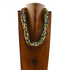 NKS170801-02MLT  MULTI STRING MULTI COLORS SEED BEADS NECKLACE