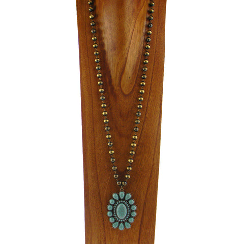 "NKY180131-02BRS/TQ 38""L BRASS COLOR NATIVE BEADS NECKLACE WITH TQ PENDANT"