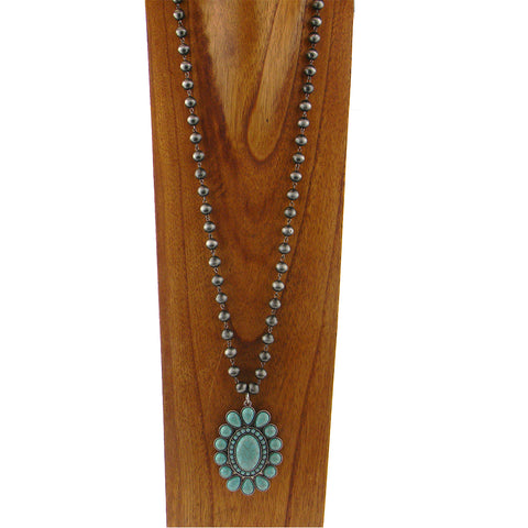 "NKY180131-02SLV/TQ 38""L SILVER COLOR NATIVE BEADS NECKLACE WITH TQ PENDANT"
