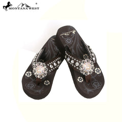 NT- S001 Montana West Concho,Collection Wedge Flip Flops By Size