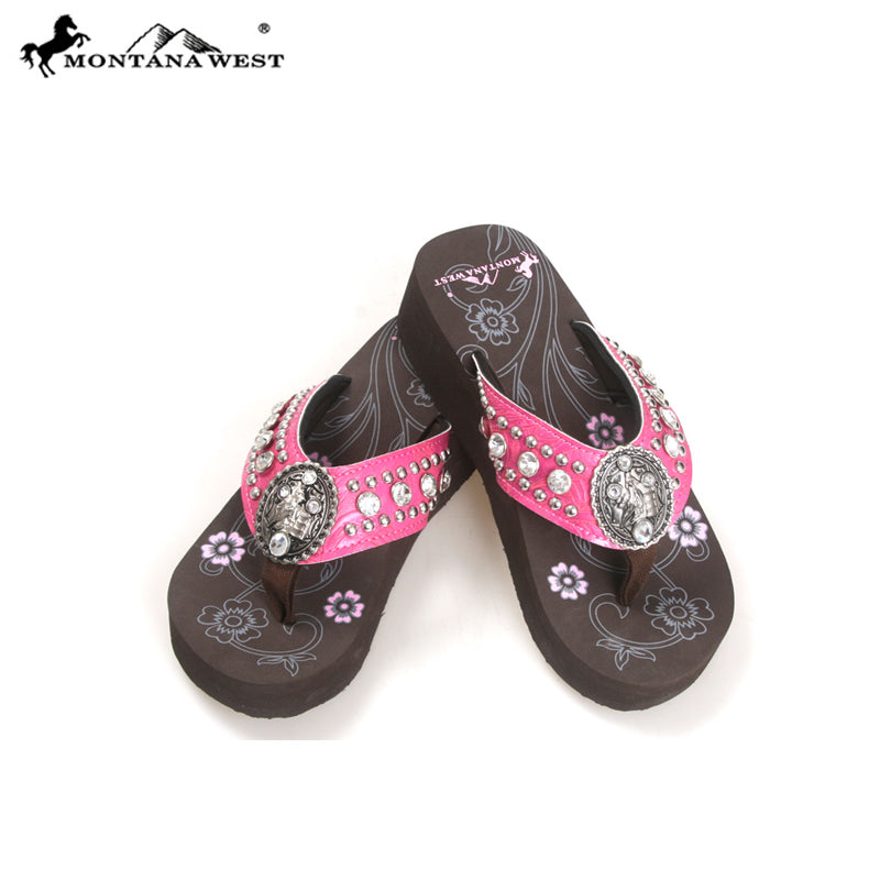 NT S086 Montana West Concho Flip Flops Collection By Size