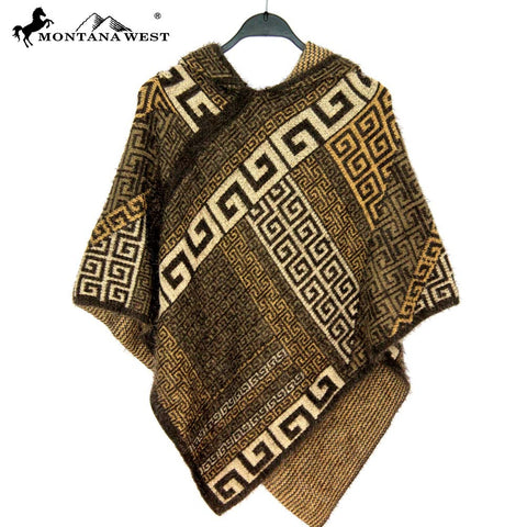 PCH-1601  Montana West Aztec Pattern Cape with Hoodie