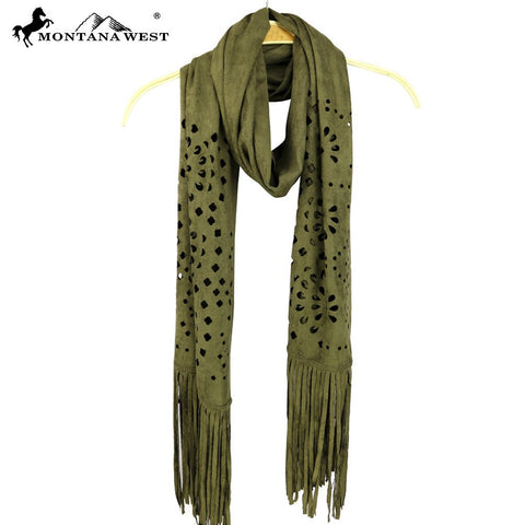 PCH-1631 Montana West Suede Feel Laser-Cut Geometric Scarf
