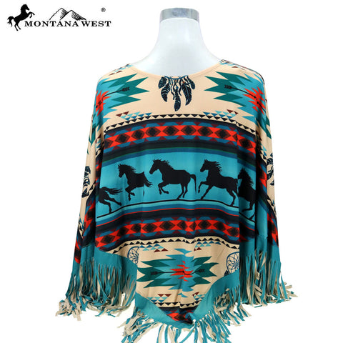 PCH-1688 Montana West Aztec Horse Collection Poncho