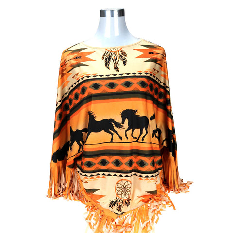 PCH-1700 Montana West Aztec Horse Collection Poncho