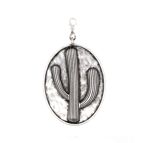 PD190107-01 SLVR  Silver oval shaped cactus pendent