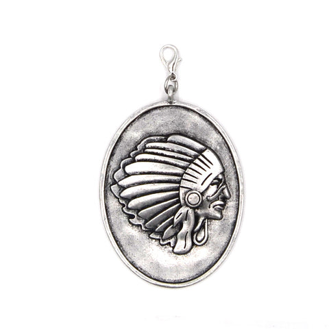 PD190107-02 SLVR  Silver oval shaped indian head pendent
