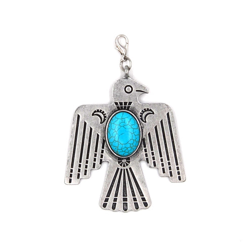 PD190107-04 SLVR   Silver bird with blue turquoise bead pendent
