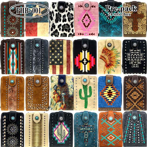JJPHB-001 American Bling CellPhone Wallet /Crossbody Pre-Pack 24Pcs/Box