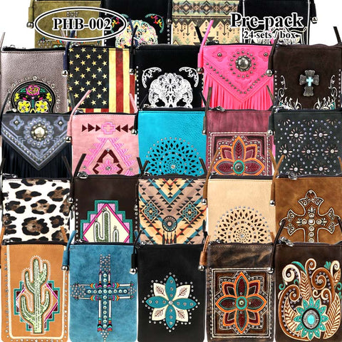 PHB-02 American Bling MiniCrossbody Bag Cell Phone Pouch Pre-Pack 24Pcs/Box