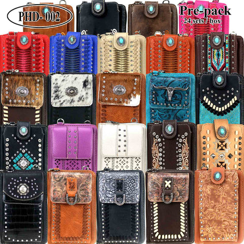 PHD-002 American Bling Phone Wallet /Crossbody Pre-Pack 24Pcs/Box