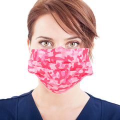 FX-FMPK1211 American Bling 10Pcs/Pack Pink Camo Print 3Ply Disposable Face Masks (Non-Medical)
